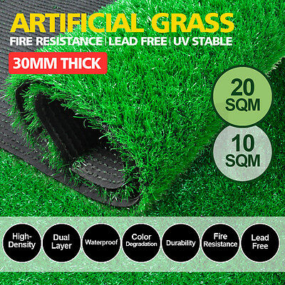 10/20SQM Synthetic Turf Artificial Grass Plastic Plant Fake Lawn Flooring 30mm