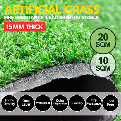 10/20SQM Synthetic Turf Artificial Grass Plastic Plant Fake Lawn Flooring 15mm
