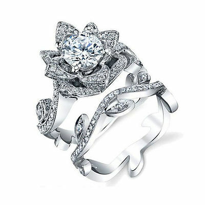 Chic Jewelry 925 Sterling Silver White Topaz Women Lotus Ring Wedding Engagement