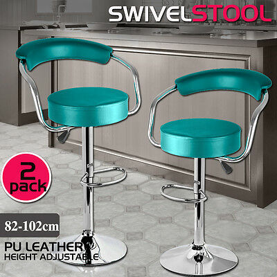 2x PU Leather Swivel Bar stool Kitchen Dining Chair Barstool Gas Lift Teal