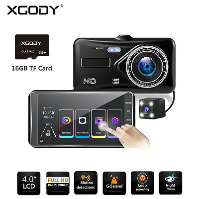 8GB TF + 4'' HD 1080P Dual Lens Car DVR Touch Screen Reversing Camera Dash Cam