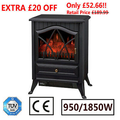1850W Freestanding Electric Fireplace Log Burning Flame Fire Place Stove Heater