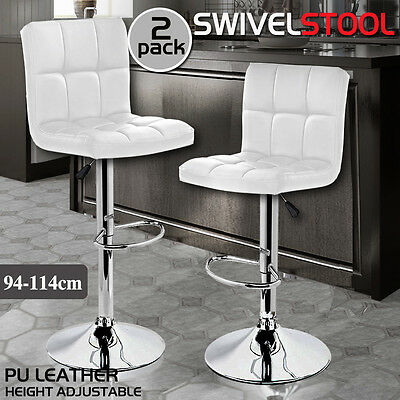 2x PU Leather Swivel Bar stool Kitchen Dining Chair Barstool Gas Lift White