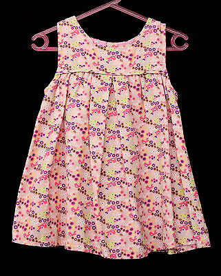 Vintage 90s Lightweight Cotton Corduroy Pink Floral Toddlers Dress Sz 1 Clothing