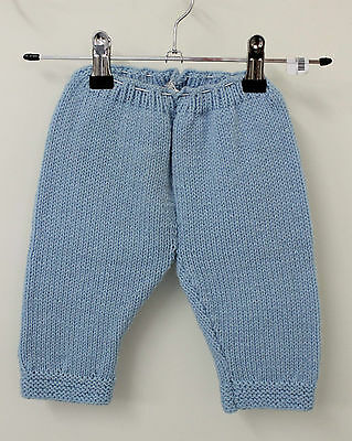 Blue Knit Baby Infant Wool Blend Winter Pants Leggings Sz 0 1 Vintage Pull-On
