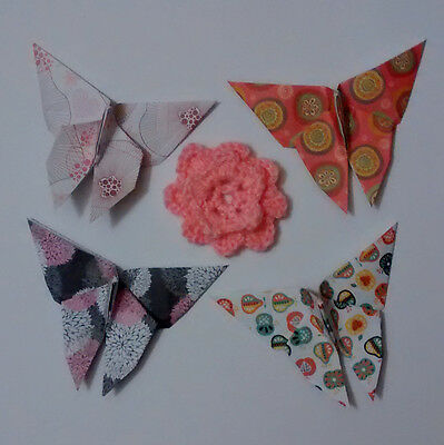4 x Beautiful Handmade Origami Butterfly Random Patterns Colours