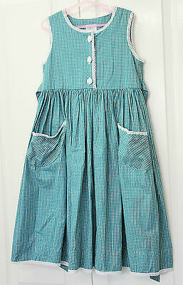 Size 4 Girls Green Plaid Checked Dress Cotton Party Vintage 90s Clothing Frock