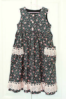 Black Pink Floral Lace Girls Dress Size 4 Sz Cotton Handmade Vintage Clothing
