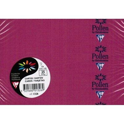 Carte CLAIREFONTAINE format C6 110x155 lot 2 paquets framboise