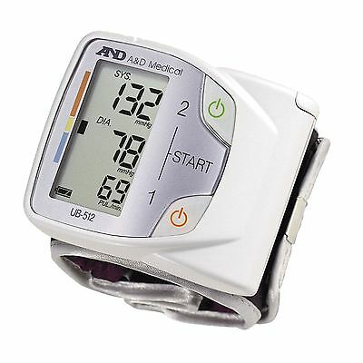A&D Medical Advanced Family Wrist Blood Pressure Monitor Compact Portable UB-512