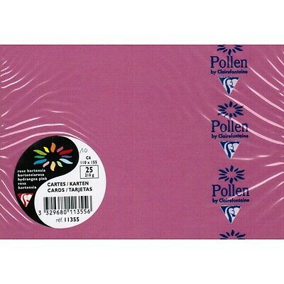 Carte CLAIREFONTAINE format C6 110x155 lot 2 paquets rose hortensia