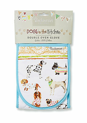 Cooksmart Best In Show Dog Double Oven Glove Mitt Cotton Insulated Textile New