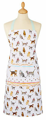 Cooksmart Cats On Parade Apron Full Adult Bib Cotton Pocket Kitchen Textile New