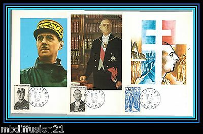 1971/fdc Cp(3)**general De Gaulle-59.lille-Nord**timbre/y/t 1695/96/98