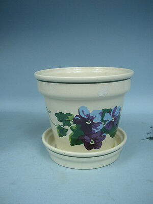 """Ceramic 5 1/2"""" Flower Pot by New England Pottery -  Made in Portugal"""
