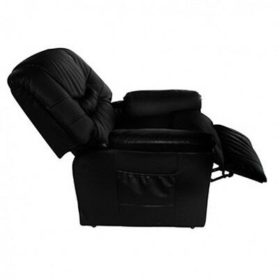 Black Recliner Massage Chair Electric Adjustable Faux Leather 10 Function Remote