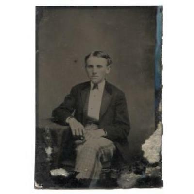Young Man Seated Cross Legged at Table Tintype Photograph Antique Photo