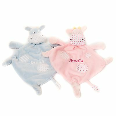 Personalised Embroidered Baby  Blue Pink Giraffe Comforter Gift Blankie
