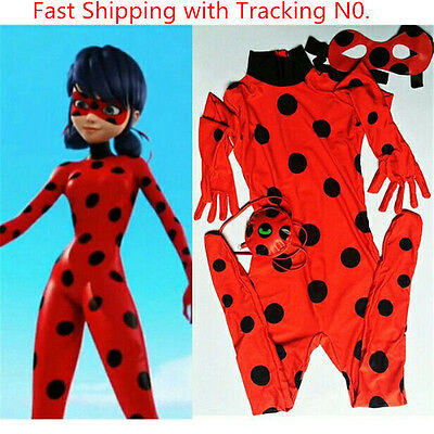 Kid Girls Miraculous Ladybug Cosplay Costume+Mask+Bag Jumpsuit Tight Fancy Dress