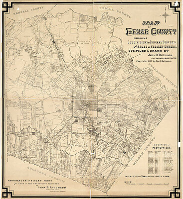 1897 Farm Line Map of Bexar County Texas