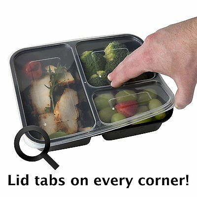 3 Compartment Food Containers With Lids for Meal Prep Food Storage,Reusable 10pk