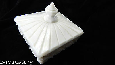 Westmoreland Square and Footed Covered Milk Glass Candy Dish Old Quilt Pattern