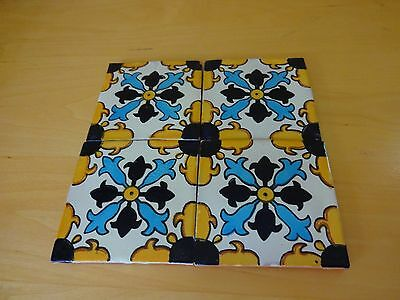 """Set of 4 Hand Painted Mexican Ceramic Decorative Tiles 4x4"""" Blue White Yellow"""