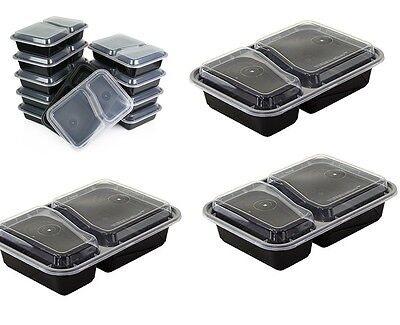 2 Compartment 10 Pack Easy Food Storage Containers with Lids Reusable Lunch Box