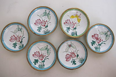 Lot of 6 Vintage Asian Chinese Enamel Copper Dipping Bowls 2.75""