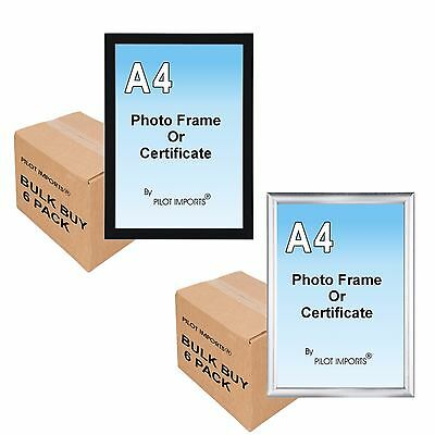 6 A4 Black & Silver Photo Picture Certificate Frames Wall Desk Plastic Frame