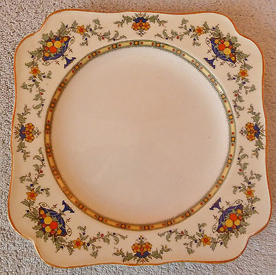 Antique Crown Ducal colorful fruit bowls and flower garlands square plate