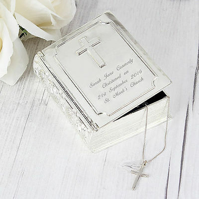 Personalised Silver Bible Trinket Box new baby christening gift