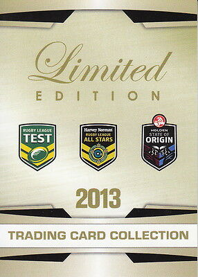 NRL - 2013 Limited Rugby Trading Card Collection Signature Set ~ Slater #/167