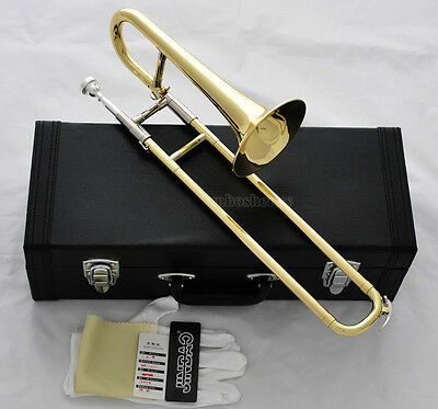 Top Quality JINBAO Gold Slide Trumpet Mini Trombone Bb Horn With Leather Case