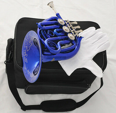 Blue Piccolo MiNi French Horn Bb Key Pocket horn Engraving Bell New Case