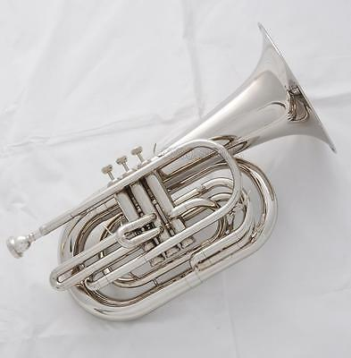 2017 Model Professional Silver Nickel Marching Baritone Bb Horn 3-Valve New Case