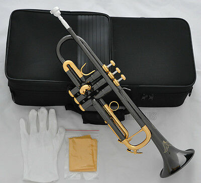 High Quality Black Nickel Gold Plated Trumpet Bb Horn Brand New With Case