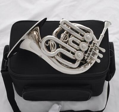 TOP Silver Nickel Plated Piccolo MiNi French Horn Bb Key Engraving Bell NEW Case