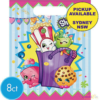Shopkins Birthday Party Supplies 8 Plastic Treat Loot Lolly Favour Bags