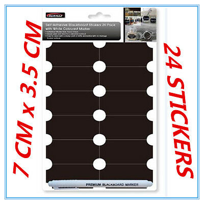 24 Self-Adhesive Blackboard Stickers White Coloured Marker Craft Removable