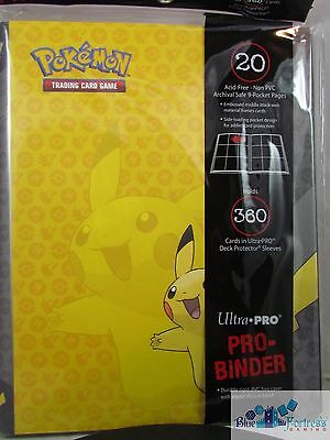 Pikachu Yellow ULTRA PRO POKEMON  PRO-BINDER CARD HOLDER + 20 PAGES FOR CARDS