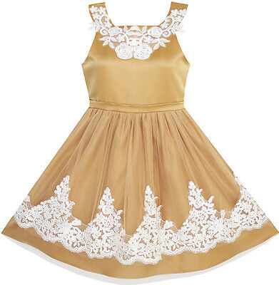 US Seller Flower Girls Dress Lace Pageant Wedding Party Tulle Overlay Size 7-14