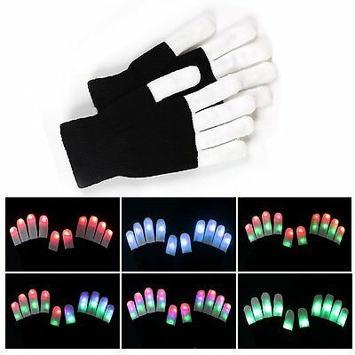 Fashion Cool LED Rave Flashing Gloves Glow 6 Modes Dark Light Up Finger Lighting