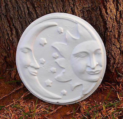 New Sun Moon Wall Plaque Mold Plastic Plaster Cement Concrete Garden Ornament