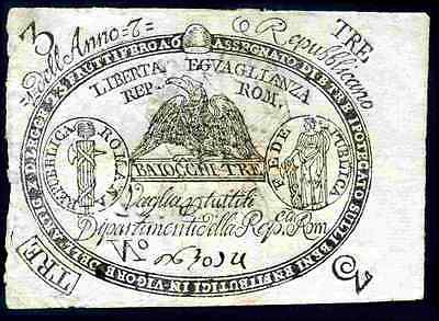 Italy. Assegnati, Three Bajocchi, (1798), Good Very Fine.