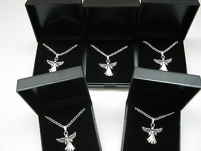 Wholesale Job Lot 10 Silver Plated Necklaces with Angel Pendants with gift box