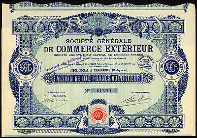 Madagascar, Soc. Generale de Commerce Exterieur, 100 franc share, 1919