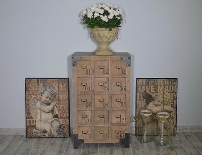 Chest Of Drawers Wooden Vintage Industrial Loft 15 Drawers French Rustic Style