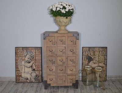 Industrial Chest Of Drawers Apothecary Wooden Cabinet Vintage Loft Style Retro