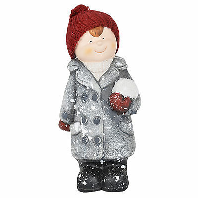 Collectible Ceramic Standing Boy With Snowball Figurine 23cm Xmas Decoration